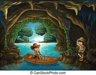 A girl and a boy at the cave - Illustration of a girl and a...