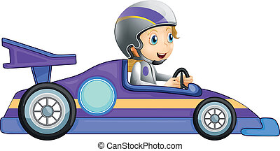 A girl in a racing car - Illustration of a girl in a racing...