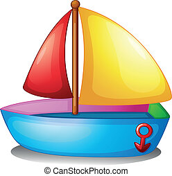 colorful boat - Illustration of a colorful boat on a white...