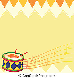 A musical drum with musical notes