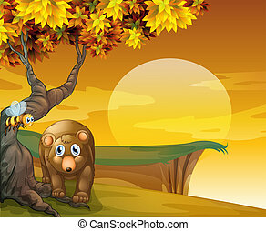 A sunset view at the cliff with a bear - Illustration of a...