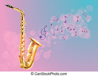 A saxophone with musical notes - Illustration of a saxophone...