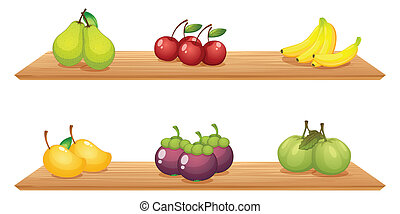 Six different kinds of fruits in the wooden shelves -...