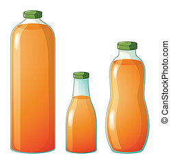 Three different sizes of bottles with orange juice -...