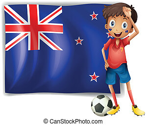 A boy beside an New Zealand flag - Illustration of a boy...