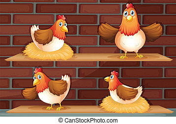 Four different positions of a chicken - Illustration of the...