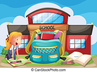 A girl with her school supplies in front of the school building