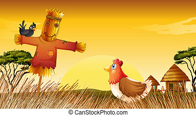 A chicken with a scarecrow and a black bird at the field -...