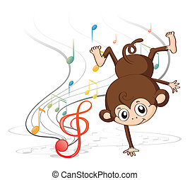 A monkey dancing with musical notes - Illustration of a...