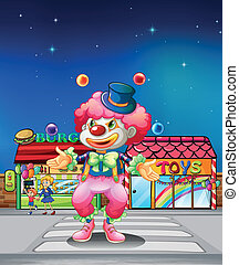 A clown crossing the pedestrian lane - Illustration of a...