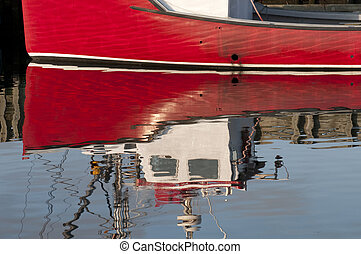 Red Boat Reflection - Reflection of a red fishing boat...