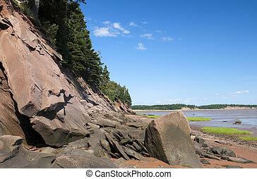 Beach Shoreline - Beach shoreline on the Bay of Fundy with...