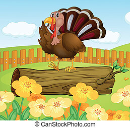 A turkey above the wood inside the fence - Illustration of a...