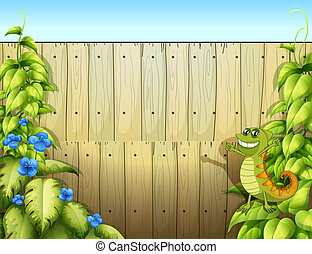 A fence with a lizard - Illustration of a fence with a...