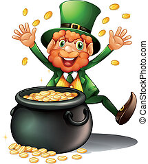 An old man with a pot of coins - Illustration of an old man...
