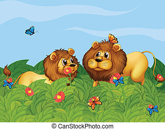 Two lions in the garden with butterflies