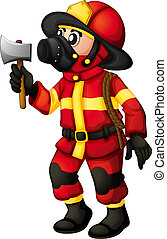 A fireman holding an axe - Illustration of a fireman holding...