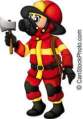 A fireman holding an axe - Illustration of a fireman holding...