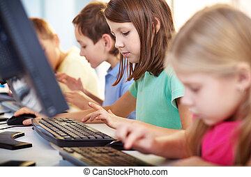 Schoolgirl at lesson - Portrait of lovely schoolgirl looking...