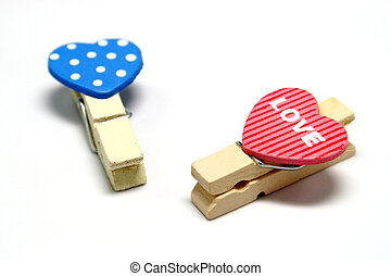 Heart Clips on White Background