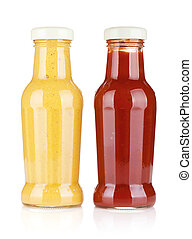 Mustard and ketchup glass bottles. Isolated on white...