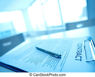 Business contract - Image of business contract and pen on...