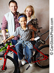 Family with bike