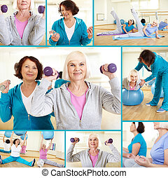 Workout - Collage of sporty females doing physical exercises...
