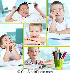 Little boy - Collage of adorable lad sitting by table