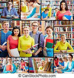 Students in library - Collage of friendly students in...