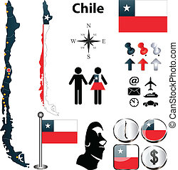 Map of Chile - Vector of Chile set with detailed country...