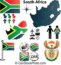 South Africa map with regions - Vector of South Africa map...