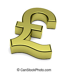 3D Pound Sterling currency sign isolated on white - 3D...