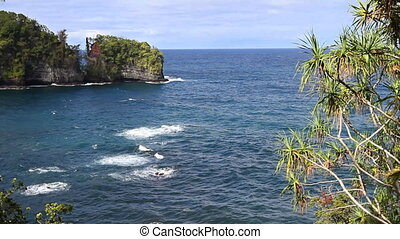 Scenic Ocean Cliffs - Cliffs covered in green foliage drop...