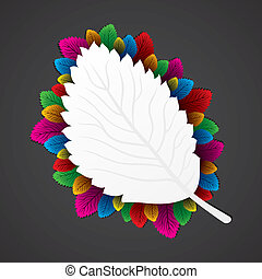colorful leaf around the white leaf stock vector