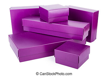 Purple boxes of various shapes, isolated on white background