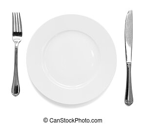 knife and fork with plate over white background