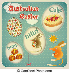 Easter Australian Card - Retro Vintage square Easter...