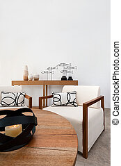 Brown white furniture in a living room - Bright brown white...