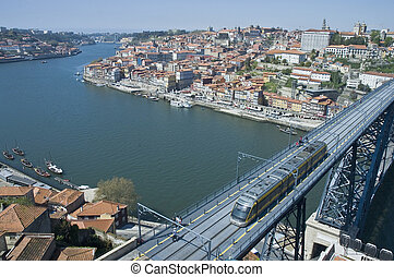 Luis I bridge at Porto, Portugal - Luis I Iron Bridge and...