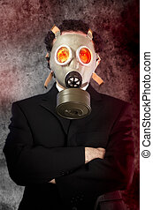 businessman with gas mask, risk concept