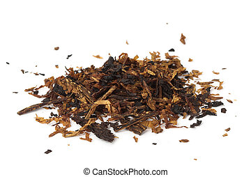Pile of pipe tobacco - A pile of pipe tobacco on white.