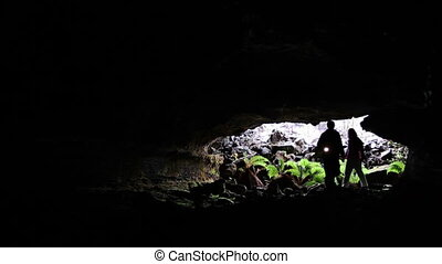 Spelunking in Lava Tube - A couple ventures into a lava tube...