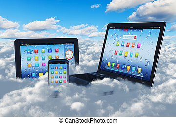 Cloud computing concept - Creative cloud computing concept:...