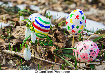 Easter Eggs with snowdrops