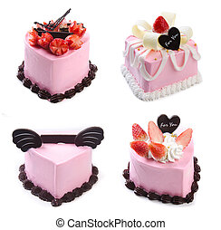 cake, Ice-cream cake on background - Collection cake,...