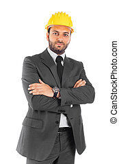 Handsome civil engineer on white background