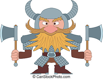 Dwarf warrior - Dwarf, redhead warrior in armor and helmet...