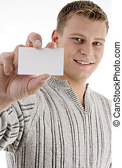 smiling man showing business card with white background