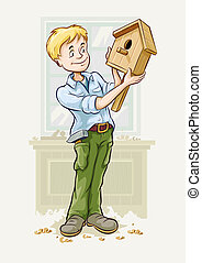 boy made a starling-house - boyin the workshop made a...